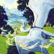 The flight of Angus and Hobsyllwin the white dragon